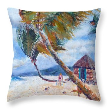 South Pacific Hut Throw Pillow