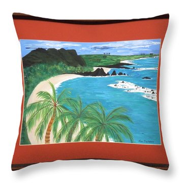 Throw Pillow featuring the painting South Pacific by Ron Davidson