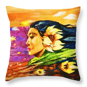South Sea Breeze  Fleeting Blossoms Throw Pillow by Al Brown