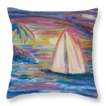 South Seas Sunset Throw Pillow
