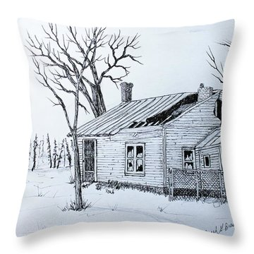 Throw Pillow featuring the drawing South Shore Place by Jack G  Brauer