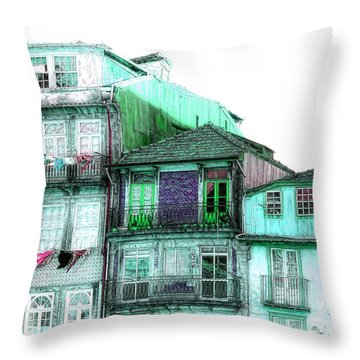 South Side Of Town-featured In Old Buildings And Ruins Group Throw Pillow