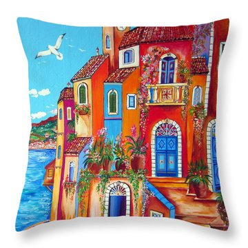 Southern Italy Amalfi Coast Village Throw Pillow