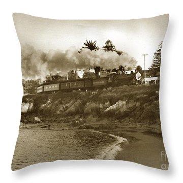 Southern Pacific Del Monte Passenger Train Pacific Grove Circa 1954 Throw Pillow