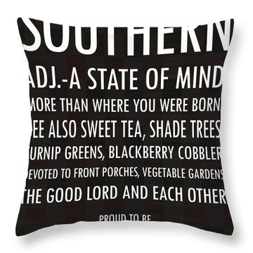 Southern State Of Mind Black And White Throw Pillow by Debbie Karnes