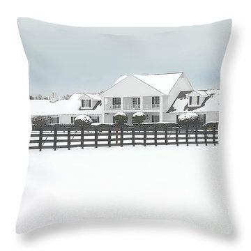 Throw Pillow featuring the photograph Snow Covered Southfork Ranch   by Dyle   Warren