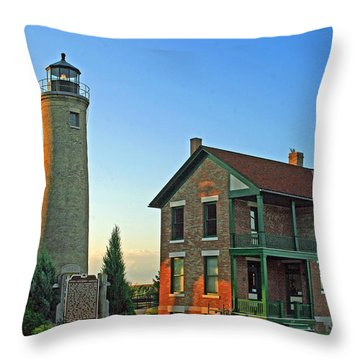Throw Pillow featuring the photograph Southport Lighthouse On Simmons Island by Kay Novy