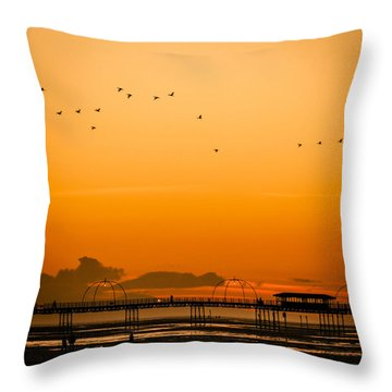 Southport Pier At Sunset Throw Pillow
