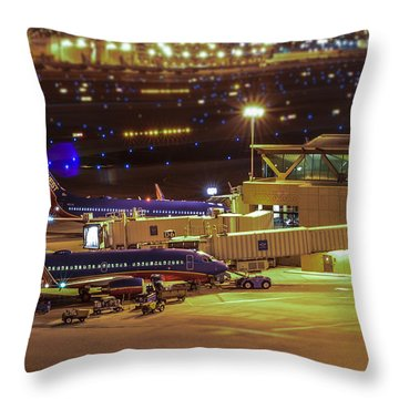 Southwest 737s In For The Night Throw Pillow