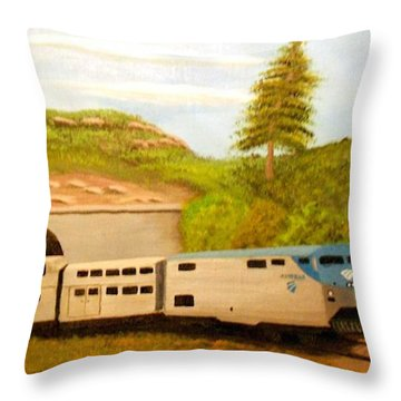 Southwest Chief At Raton Pass Throw Pillow by Sheri Keith