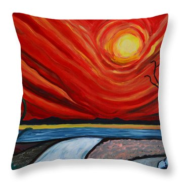 Southwest Desert Sun Throw Pillow