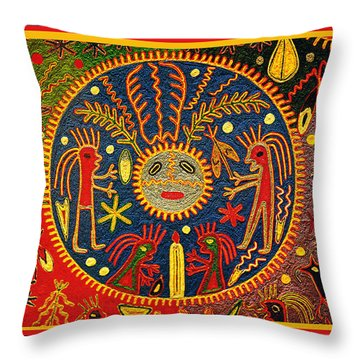 Southwest Huichol Del Sol Throw Pillow