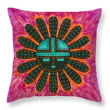 Throw Pillow featuring the painting Southwest Sunburst Sunface by Susie Weber