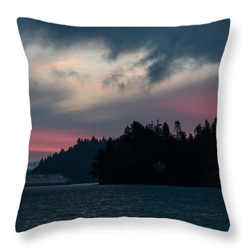 Southworth Ferry Run At Dawn Throw Pillow