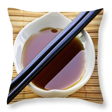 Soy Sauce With Chopsticks Throw Pillow by Elena Elisseeva