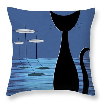 Space Cat In Blue Throw Pillow by Donna Mibus