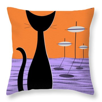 Space Cat Orange Sky Throw Pillow