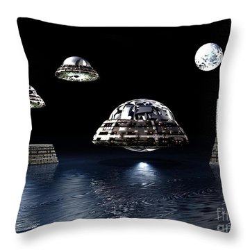 Throw Pillow featuring the digital art Space City by Jacqueline Lloyd
