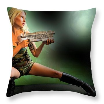 Throw Pillow featuring the photograph Space Dock Trooper by Jon Volden