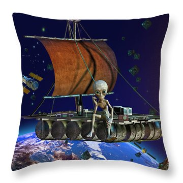 Throw Pillow featuring the digital art Space Junk by Shadowlea Is