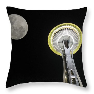 Space Needle Throw Pillow by David Gleeson