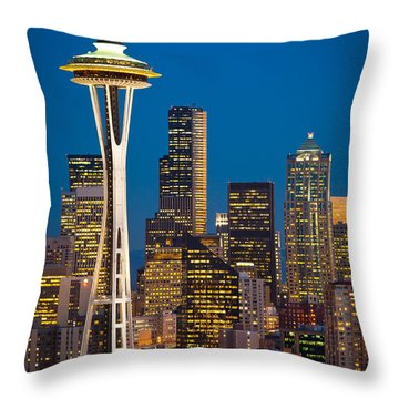 Space Needle Evening Throw Pillow by Inge Johnsson