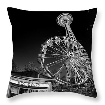 Space Needle Fights The End Of The World Throw Pillow