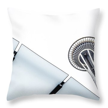 Space Needle On White Throw Pillow by Wade Brooks