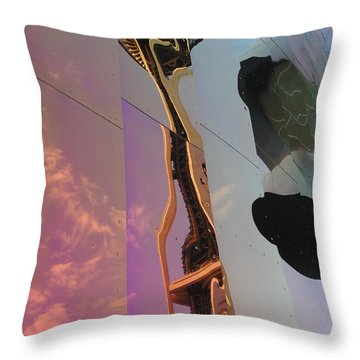 Space Needle Reflections Iv Throw Pillow