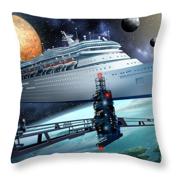 Space Ship Throw Pillow by Ciro Marchetti