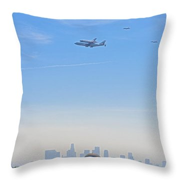 Space Shuttle Endeavour And Chase Planes Over The Griffith Observatory Throw Pillow by David Zanzinger