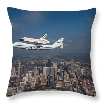 Space Shuttle Endeavour Over Houston Texas Throw Pillow