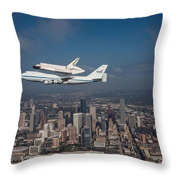 Space Shuttle Endeavour Over Houston Texas Throw Pillow by Movie Poster Prints
