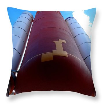 Space Shuttle Fuel Tank And Boosters Throw Pillow