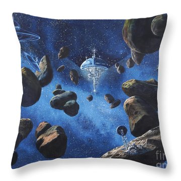 Space Station Outpost Twelve Throw Pillow by Murphy Elliott