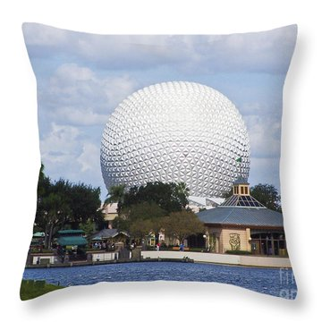Spaceship Earth At Epcot Throw Pillow