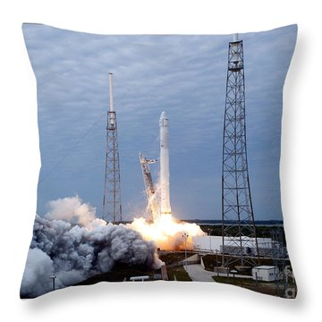 Throw Pillow featuring the photograph Spacex-2 Mission Launch Nasa by Rose Santuci-Sofranko
