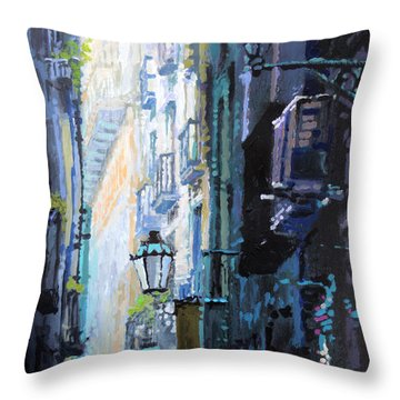Spain Series 06 Barcelona Throw Pillow by Yuriy Shevchuk