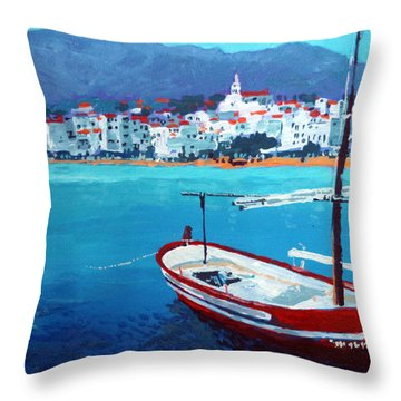 Spain Series 08 Cadaques Red Boat Throw Pillow