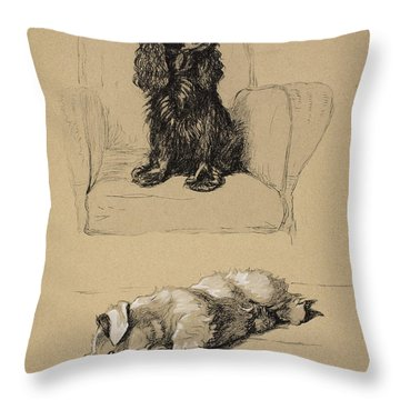 Spaniel And Sealyham, 1930 Throw Pillow by Cecil Charles Windsor Aldin
