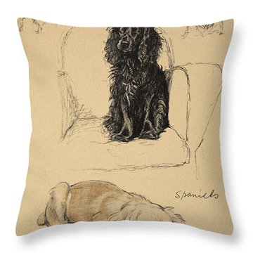 Spaniels, 1930, Illustrations Throw Pillow by Cecil Charles Windsor Aldin