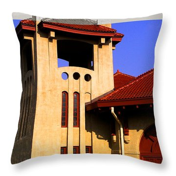 Spanish Architecture Tile Roof Tower Throw Pillow