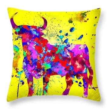 Spanish Bull Throw Pillow by Daniel Janda