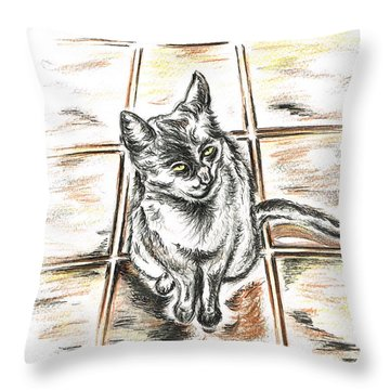 Spanish Cat Waiting Throw Pillow by Teresa White