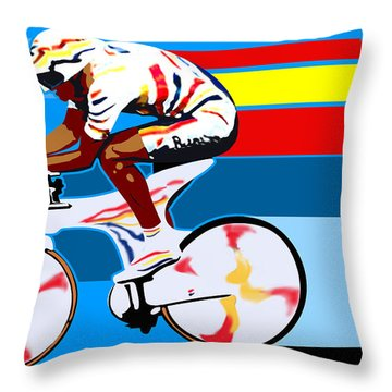 spanish cycling athlete illustration print Miguel Indurain Throw Pillow