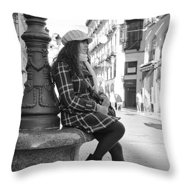 Waiting In This Spanish Street Throw Pillow