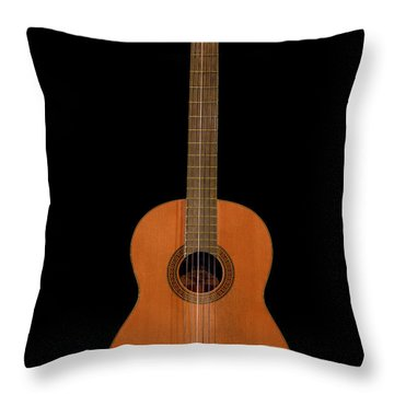 Spanish Guitar On Black Throw Pillow by Debra and Dave Vanderlaan