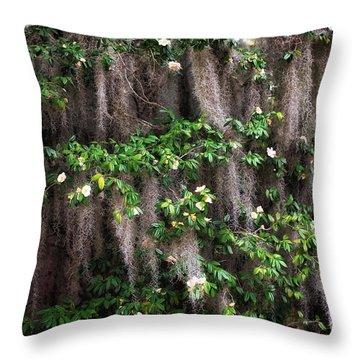 Spanish Moss Flowers Throw Pillow