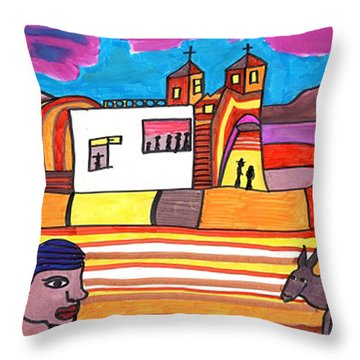 Throw Pillow featuring the drawing Spanish New Mexico by Don Koester