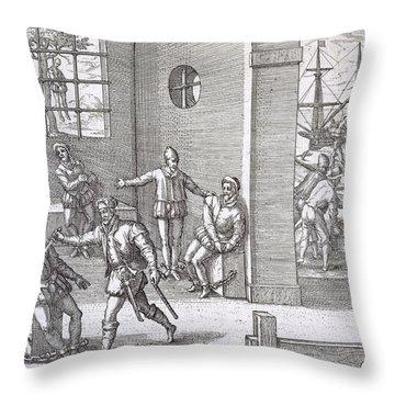 Spanish Traitors In Panama Throw Pillow by Theodore De Bry
